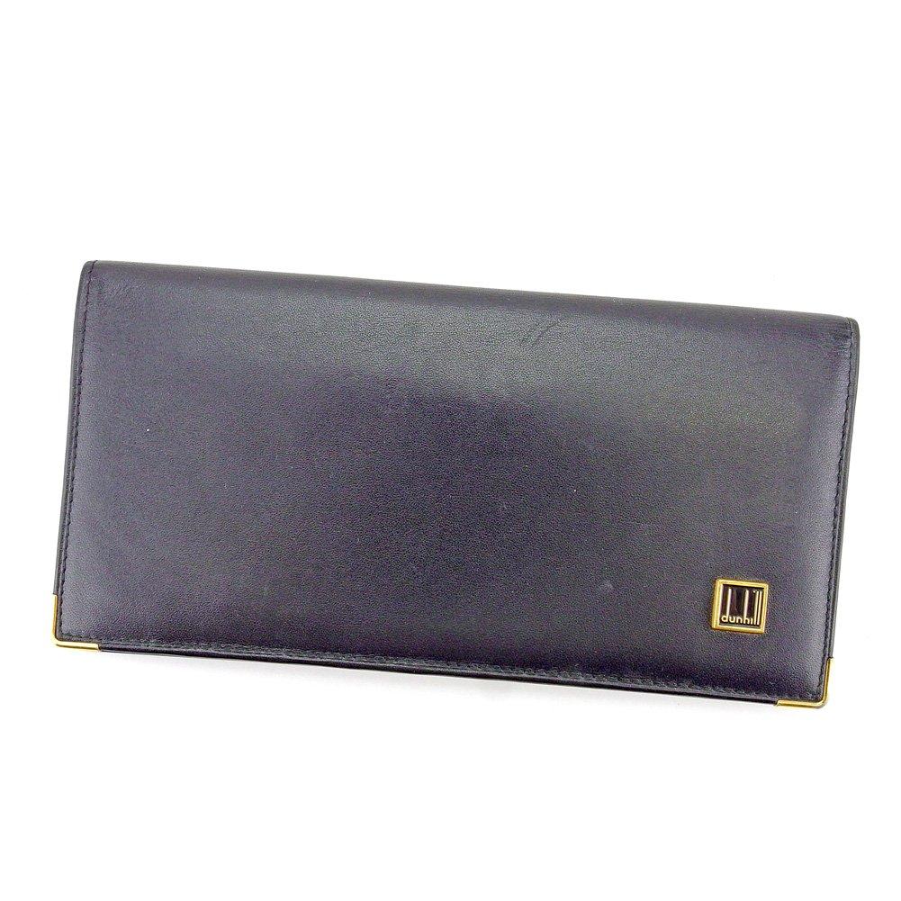 (ダンヒル) Dunhill 長札入れ 札入れ ブラック×ゴールド ロゴプレート コンフィデンシャル メンズ 中古 T4303   B07812J3VS
