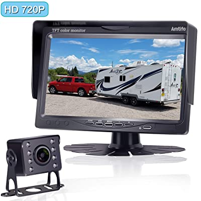Amtifo HD 720P Backup Camera Kit,7 Inch Monitor with Rear View Camera System Designed for Cars,Pickups,Trucks,Trailers,RVs,Easy Installation: Car Electronics