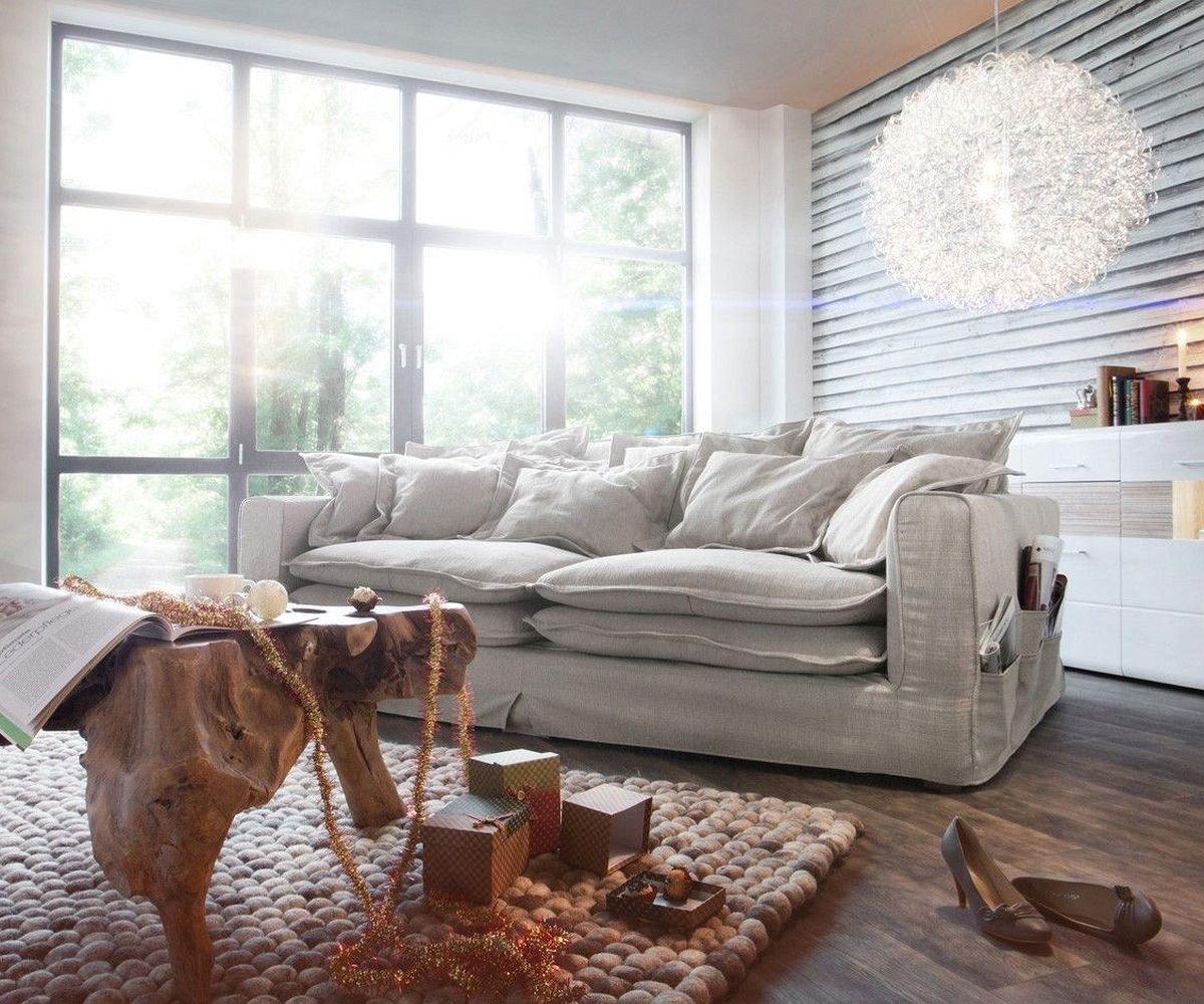 Big Sofa Noelia Elfenbeinfarben 240x145 cm mit Kissen Hussensofa