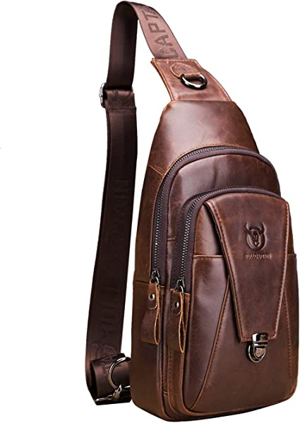 Sling Bag Casual Mens Chest Bag Zipper Waterproof Canvas Messenger Bag Shoulder Bag Brown for Travel Hiking Working School Business Cycling
