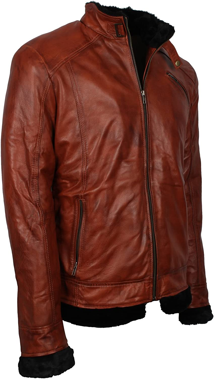 Men/'s American Vintage Style Brown Fur Lined Winter Real Leather Jacket