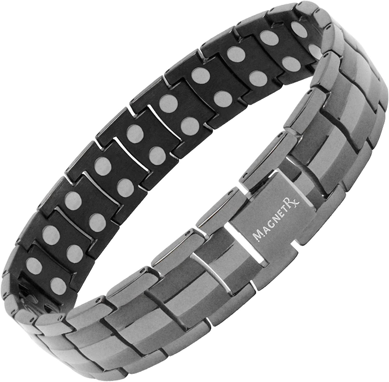 MagnetRX Ultra Strength Magnetic Therapy Bracelet | Arthritis Pain Relief and Carpal Tunnel Magnetic Bracelets for Men | Adjustable with Gift Box (Gunmetal)