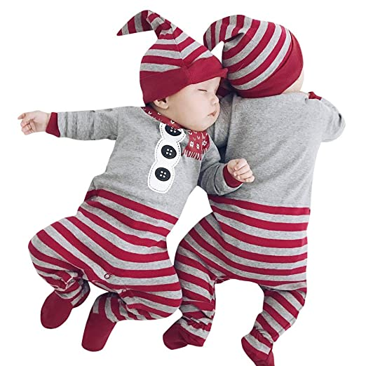 167476461 Amazon.com: ❤ Mealeaf ❤ Toddler Outfit Christmas Baby Boys Girls Boys  Newborn Rompers Striped Jumpsuit + Hat 2 Pieces Clothes Set: Clothing