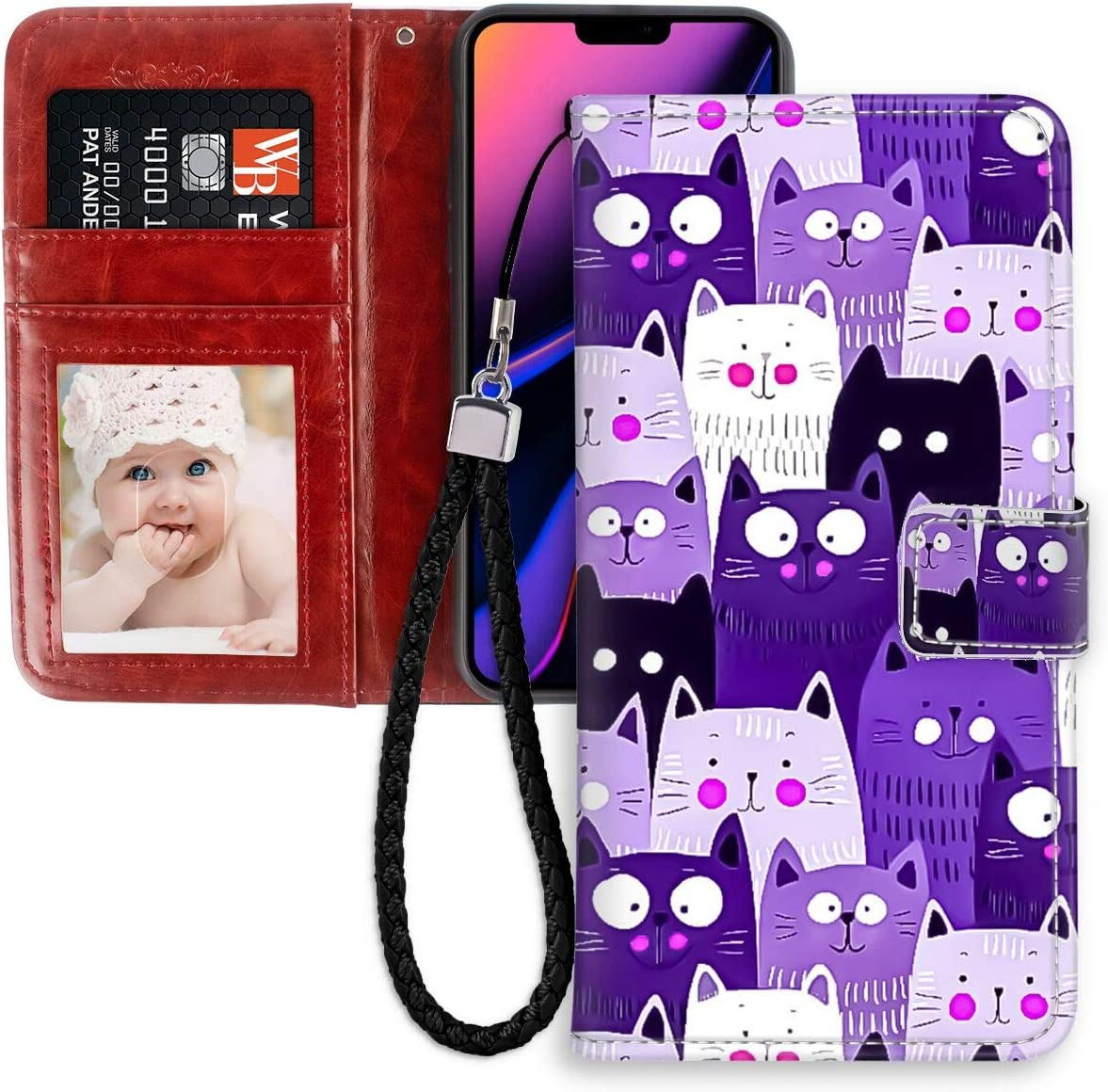 Amazon Com Iphone 11 Pro Max 6 5 Version Purple Cat Wallpaper Leather Folio Flip Case Bumper
