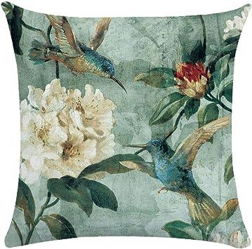 Image ofCaogsh - 2 fundas de almohada de felpa corta para cojín lumbar, sofá, almohada, almohada retro con diseño de pájaros y flores, algodón mixto, Zt002740, 50x50cm(Double-sided printing)