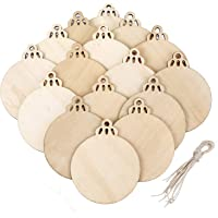 20 Pieces Wooden Round Bauble Blank Hanging Wood Pieces Christmas Tree Pendants Ornaments
