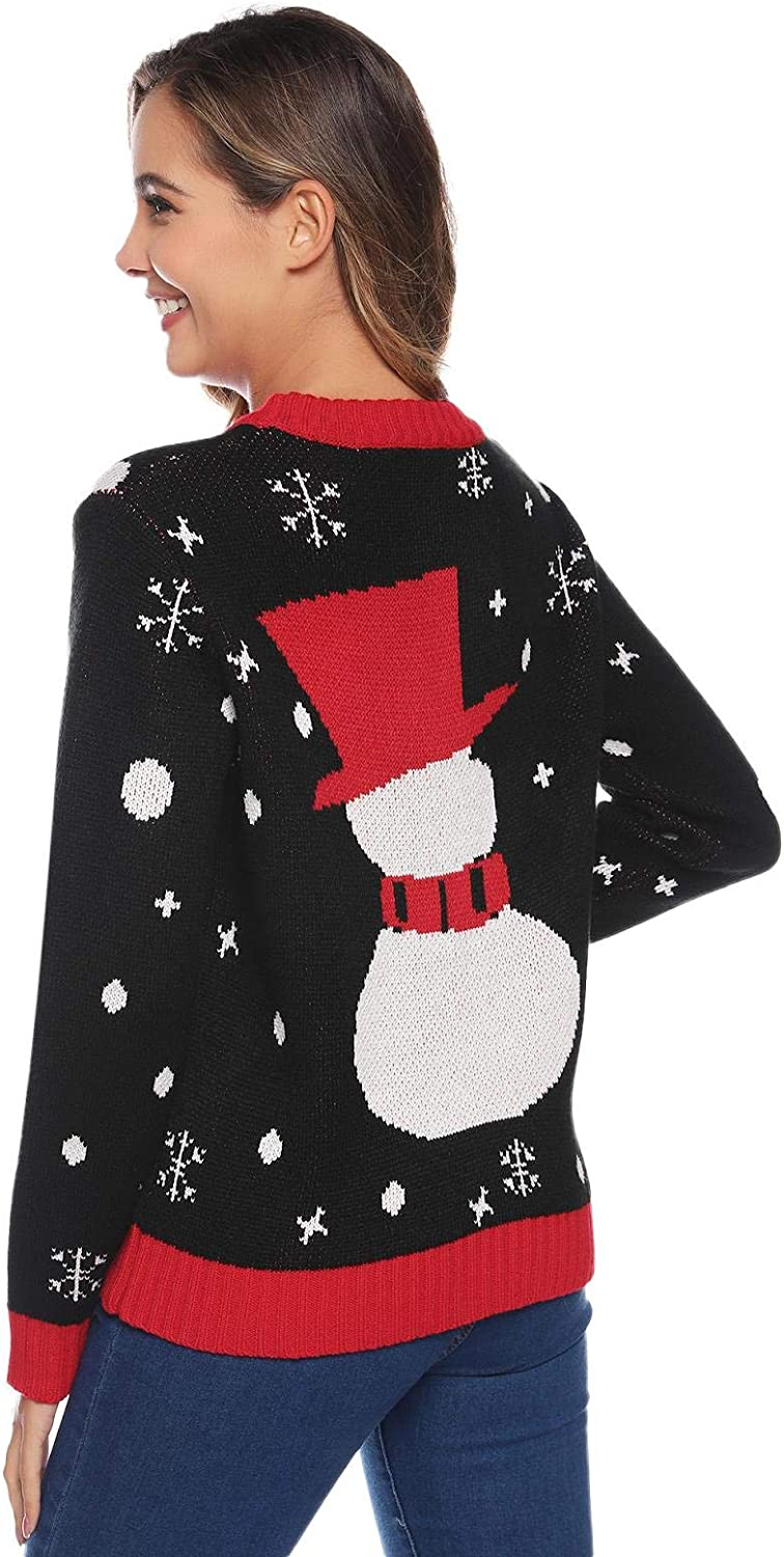 Abollria Christmas Sweater for Family Cute Snowman Knitted Sweater for Women Mens Kids Pullover Tops
