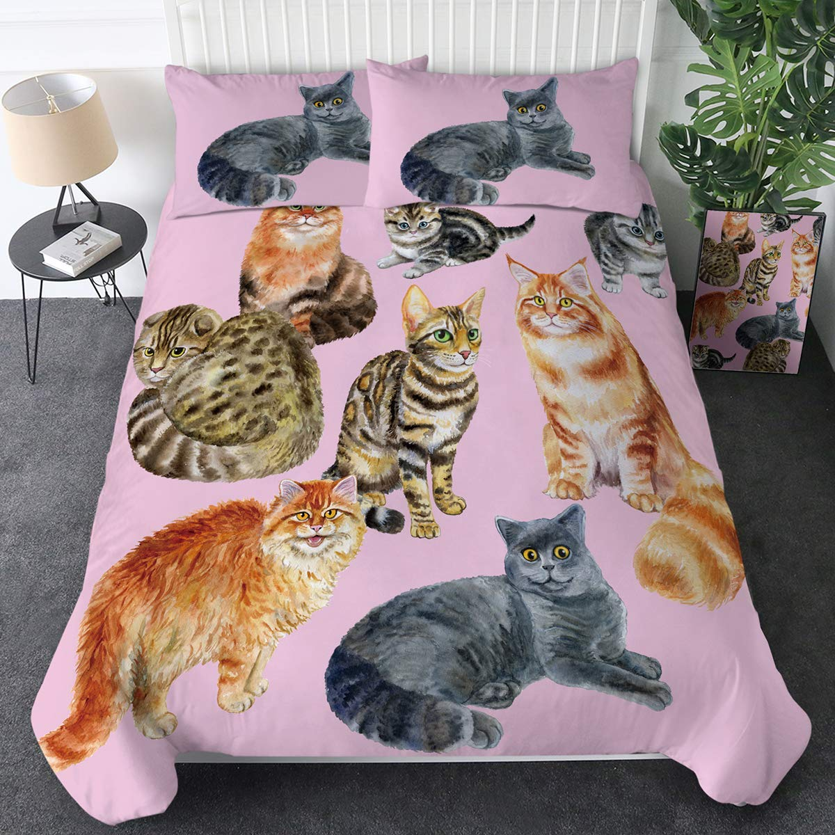Sleepwish Cat Bedding Sets for Kids Boys Girls Animal Print Bedspreads 3 Piece Bed Set 1 Comforter Duvet Cover 2 Pillowcase(Whimsical Watercolor Cat Pink,Twin)