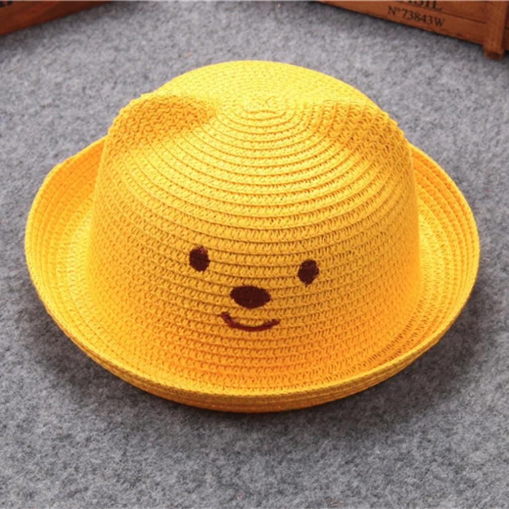 ❤️Amlaiworld Ni/ños Beb/é Ni/ño Ni/ña Sombrero de Paja Playa Sombrero de Osoito Gorro de Sol de Ocio al Deporte Aire Libre Verano para Unisex Ni/ños 2-6 a/ños caf/é Sombreros y gorras Beb/é