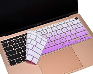 "CaseBuy Keyboard Cover for Newest MacBook Air 13 inch 2020 Release Model A2179 with Touch ID, 2020 MacBook Air Accessories, 13"" MacBook Air Soft-Touch Silicone Protective Skin, Ombre Purple"