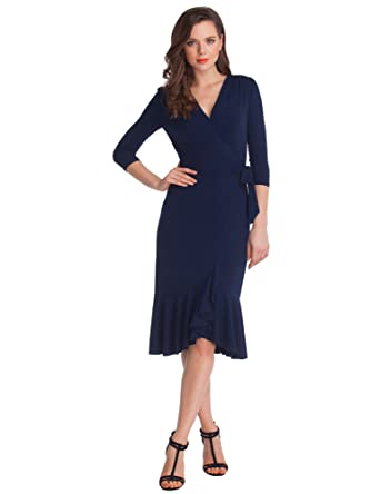 Grapent Womens 34 Sleeve Ruffle Surplice Neckline Semi Formal Midi