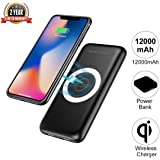 Wireless Charger Power Bank,Coeuspow 12000mAh Portable Charger Qi Wireless Charging Pad Wireless Charging Battery Pack for iPhone X iPhone 8 Plus/8/7 Plus Galaxy S9/S8/S7 Note 8/7--Black