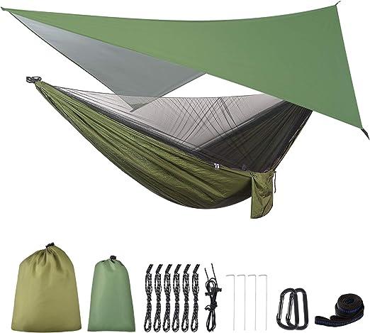 OTraki Hamaca con Mosquitera y Toldo Camping 200 kg de Capacidad de Carga Hamaca Jardín Exterior con Lona Tienda de Campaña Impermeable e Anti-Mosquitero Neto para Camping Viaje, 290 x 140 cm: