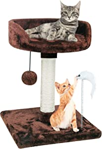 67i Cat Tree Cat Tower with Natural Sisal Scratching Posts Cat Activity Platform Furniture with Hanging Ball and Spring Plush Mouse Toys for Kitten Small Cats
