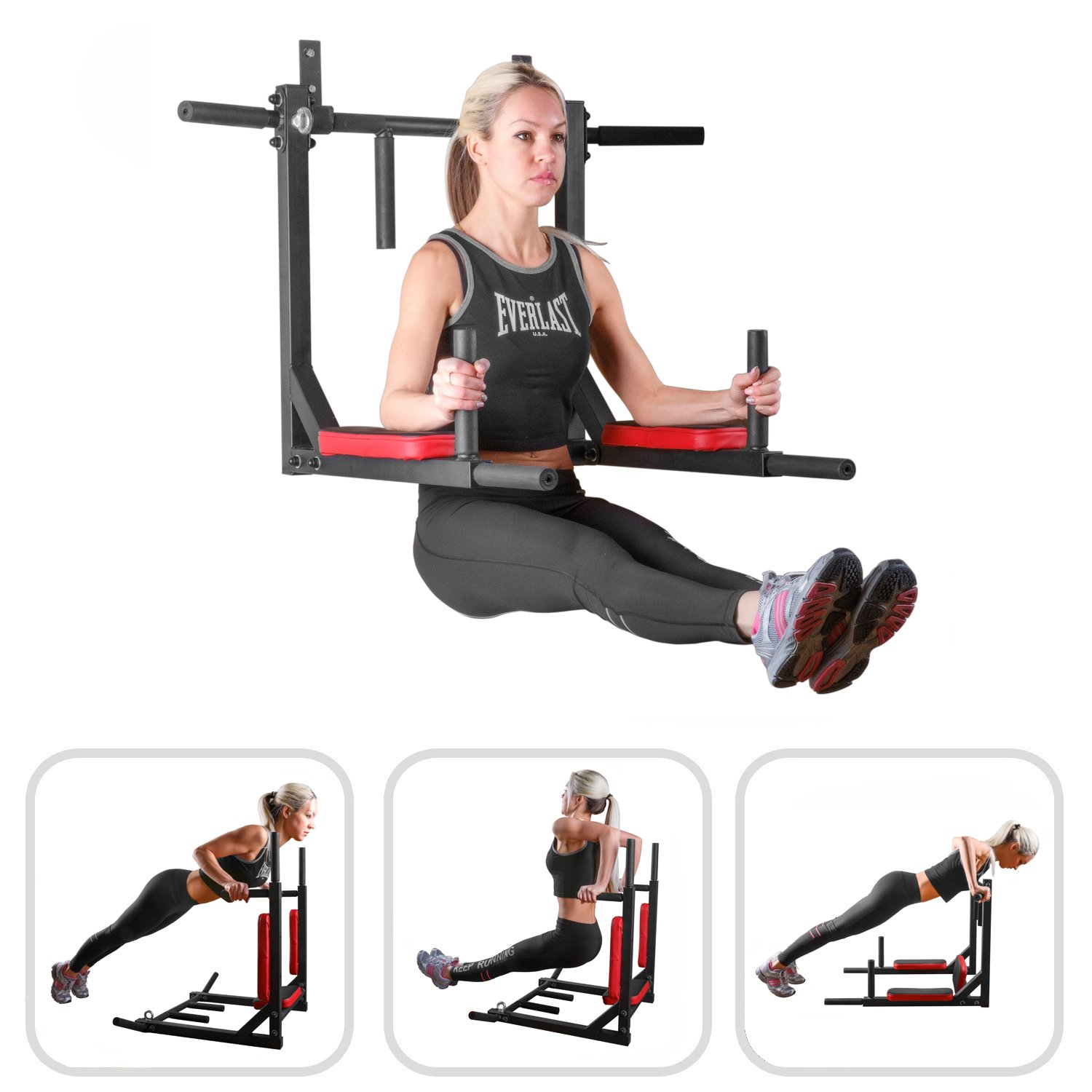 Wall Mounted Pull Up Bar - Pullup Bar Wall Mount - Chin Up Bar - Pull Up Bars and Dip Bar - Pullup and Dip Bar - Dip Station Pull Bar - Pullup Bars Outdoor and Home Room or Garage Gym Multi Grip - Pul by BAR2FIT QUALITY SPORTS EQUIPMENT (Image #4)