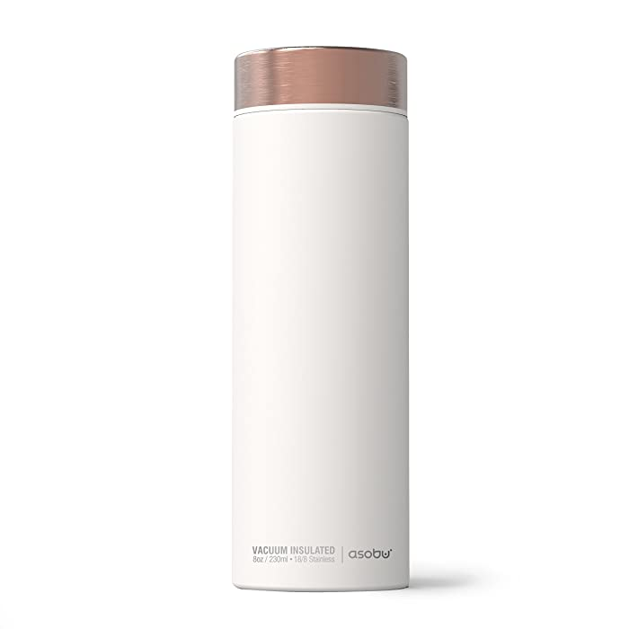 Asobu Le Baton Insulated Vacuum Sealed Stainless Steel Trendy Sport Travel Water (White/Copper)