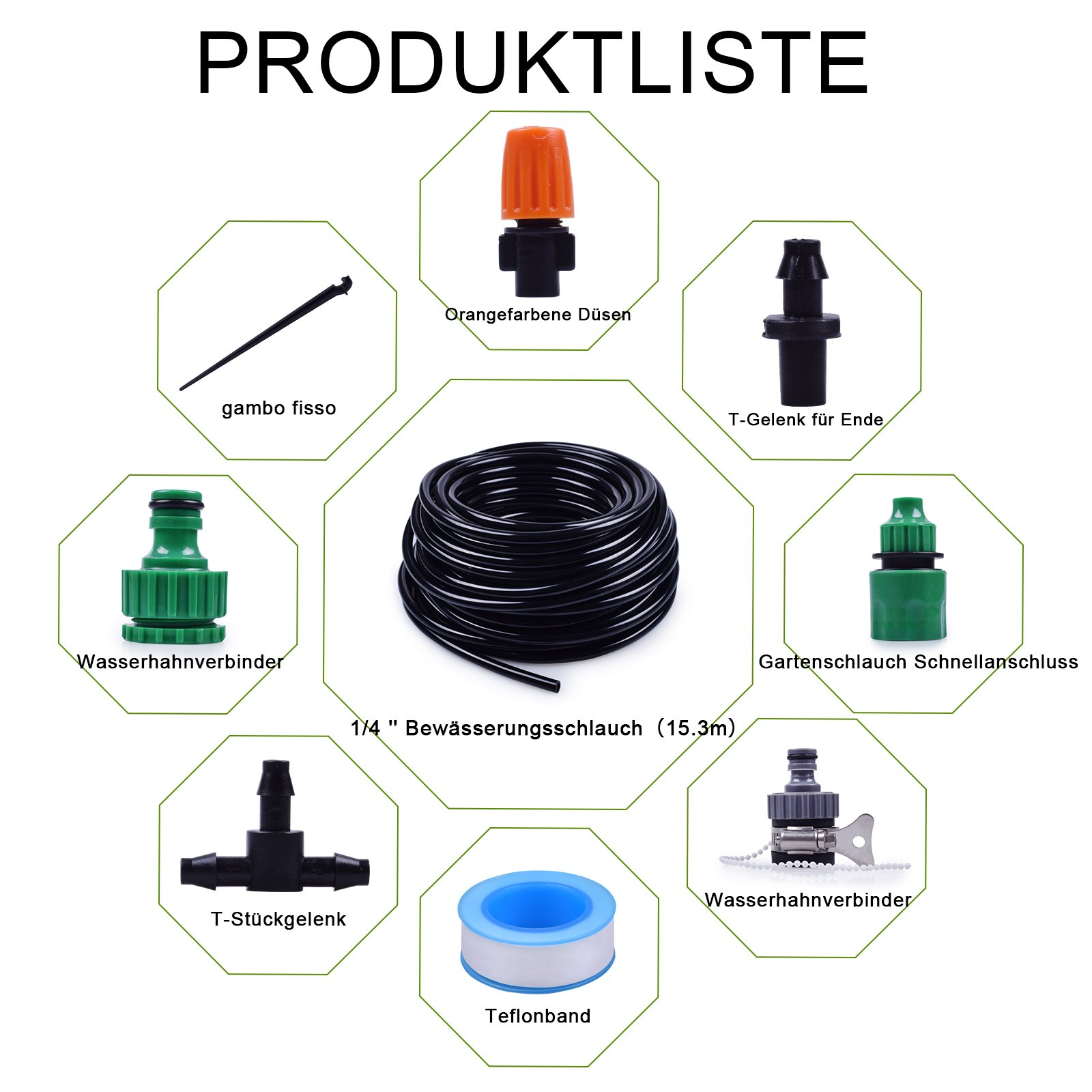 "1/4-inch Drip Irrigation Kits Accessories Plant Watering System with 50ft 1/4"" Blank Distribution Tubing Hose, 20pcs Misters, 39pcs Barbed Fittings, Support Stakes, Quick Adapter, Model: UKGG0B"