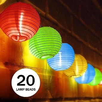 Spardar Corde de lampe solaire, 20led lanternes 4.8 m, extérieur étanche  lampe solaire chinois Lanterne, lanternes à cordes pour festival, jardin,  ...
