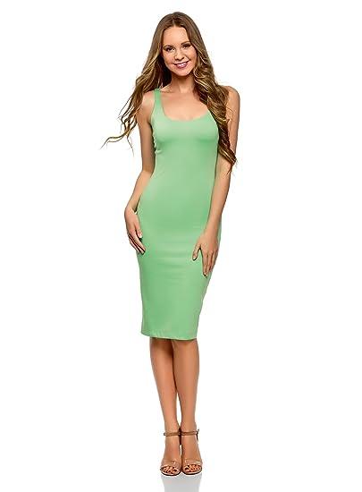 oodji Ultra Mujer Vestido-Camiseta de Tirantes de Punto, Verde, ES 34 /