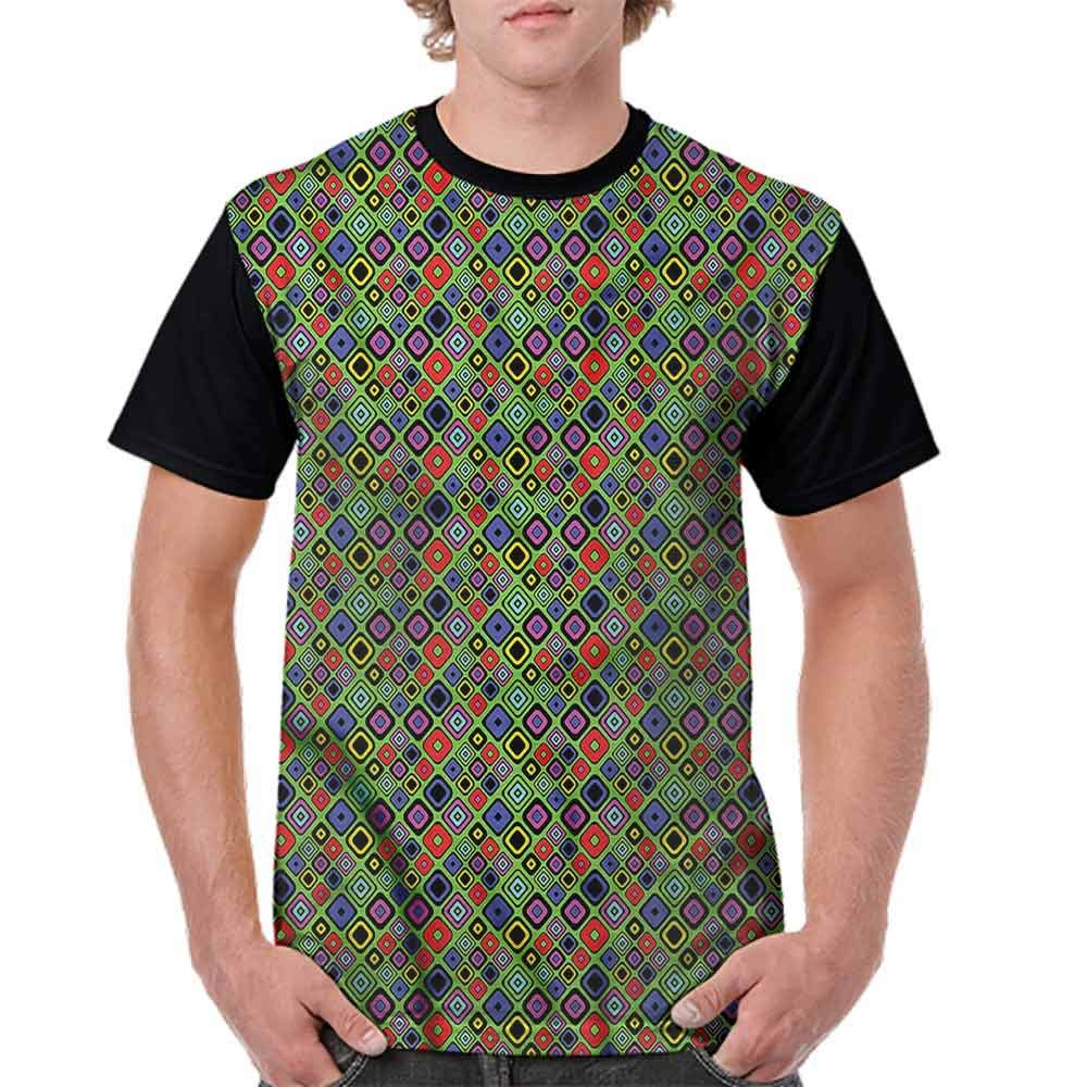 Printed T-Shirt,Comic Book Style Cubes Fashion Personality Customization