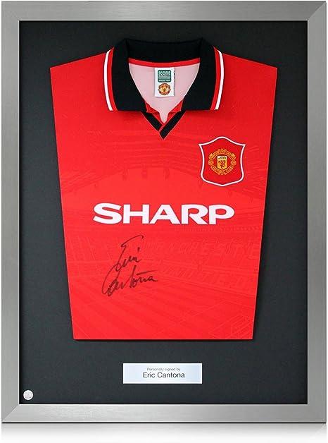 Plata Enmarcado Firmado camiseta de Eric Cantona Manchester United ...