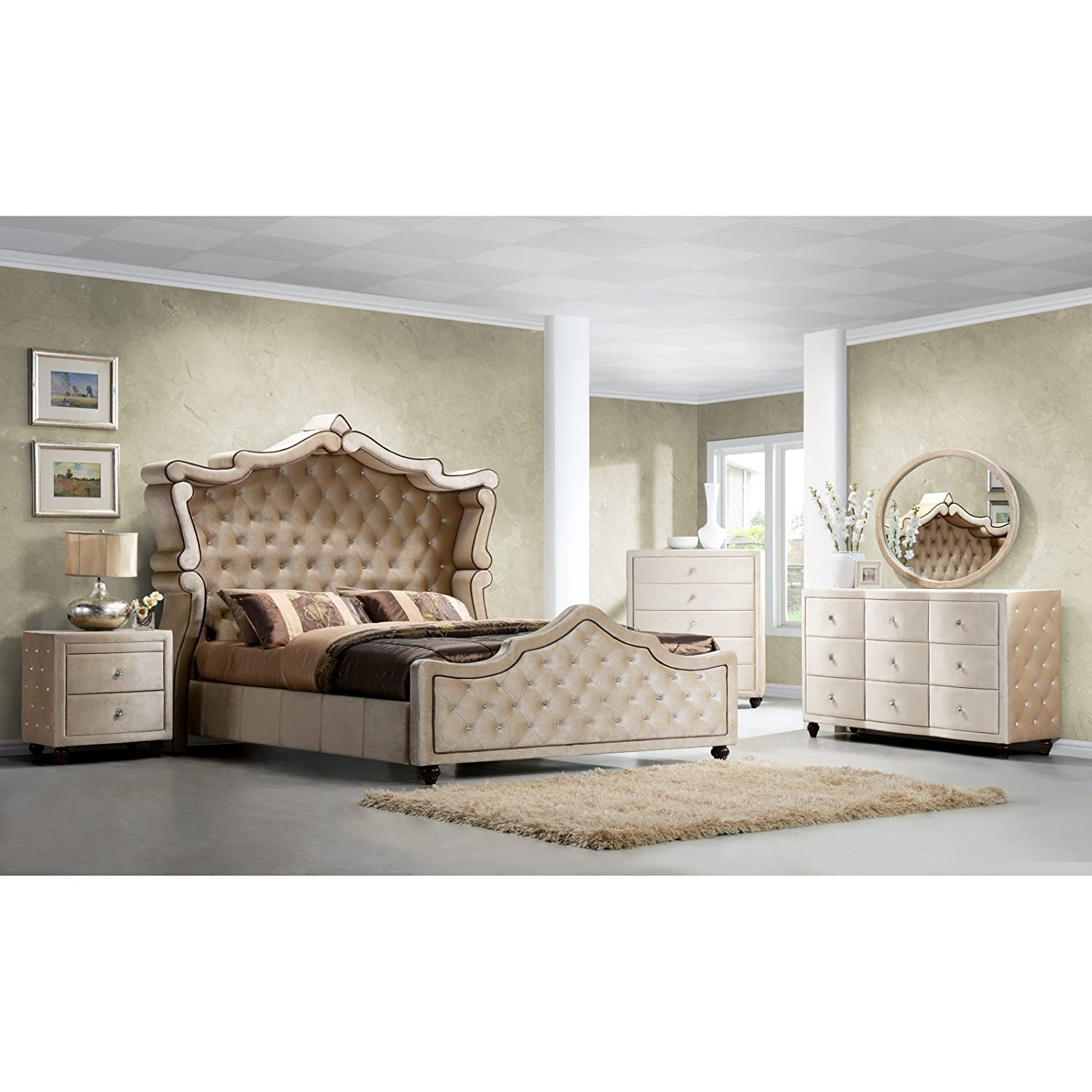 Amazon.com: Meridian Furniture Diamond Canopy Velvet Bed, King: Kitchen U0026  Dining