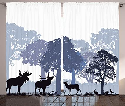 Ambesonne Moose Curtains 2 Panel Set Gray Forest Design Abstract Woods North American Wild Animals