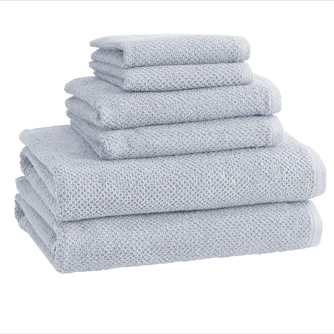 100% Cotton Bath Towels, Luxury 6 Piece Set - 2 Bath Towels, 2 Hand Towels and 2 Washcloths. Quick-Dry, Absorbent Textured Popcorn Weave Towels. Acacia Collection (6 Piece Set, Sterling Blue)