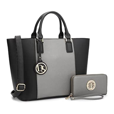 2b3ec52ebb MMK collection Women Fashion Matching Satchel  Tote handbags with  walle(6417)t~Designer Purse with Wristlet Wallet (6417(168)PT BK PT)   Amazon.in  Clothing ...