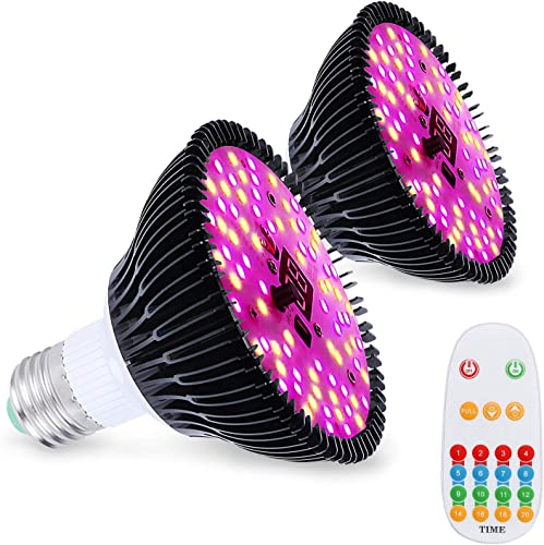 Led Grow Light Bulb,60W Plant Lights for Indoor Plants Full Spectrum with Auto On Off Timer Brightness Settings for Indoor Plants Vegetables,Seeds,Hydroponics Indoor Garden Greenhouse E26 E27 2 Pack