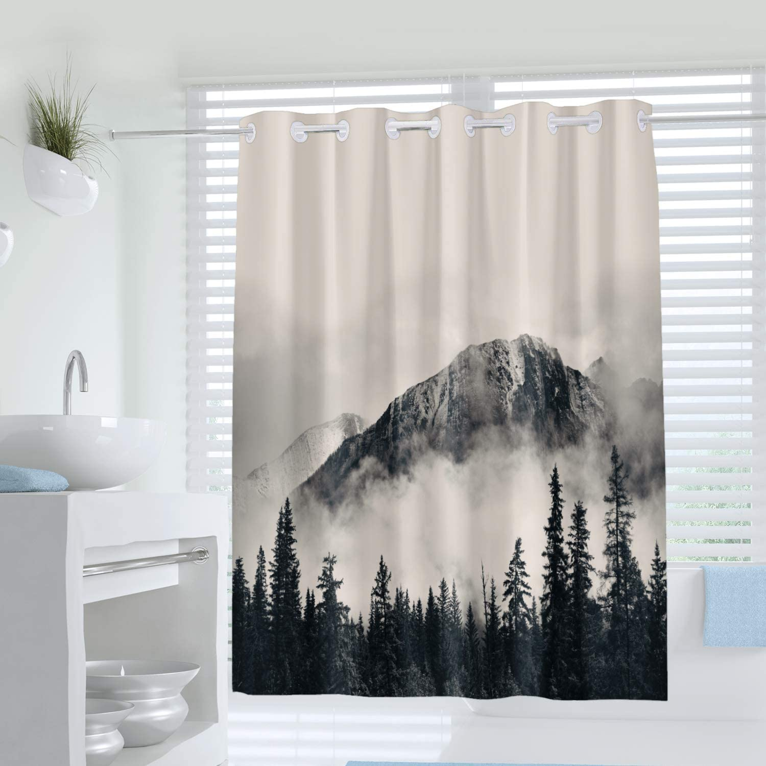 Abstract Art No Hook Shower Curtain, National Park Foggy Mountains and Forest Print Curtain for Bathroom Decor,Waterproof Fabric Bathtub Showers 72 x 78 Inches,Grey