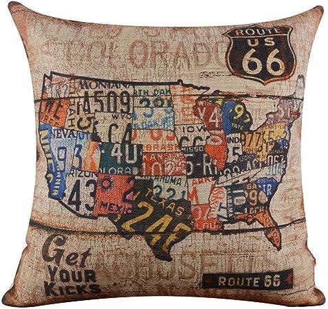 18 x 18 pulgadas Algodón Lino y algodón lino Vintage American mapa EE. UU. Ruta 66 Burlap fundas de cojín funda de almohada: Amazon.es: Hogar