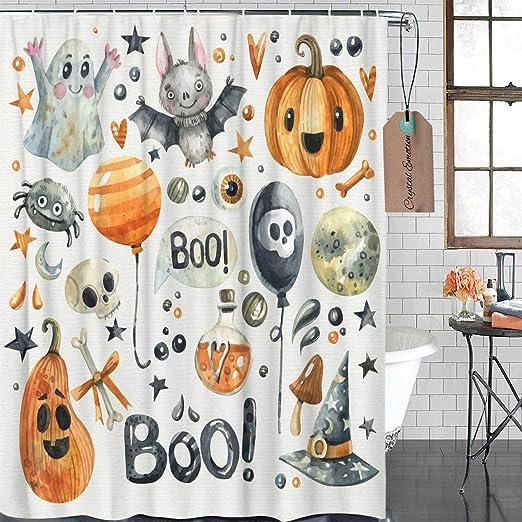 Halloween Theme Pumpkin Shower Curtain Set Waterproof Fabric Bathroom w//12 Hooks
