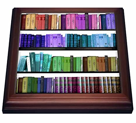 3dRose Trv 112957 1 Colorful Bookshelf Books Rainbow Bookshelves Reading Book Geek Library Nerd Librarian Author Trivet With