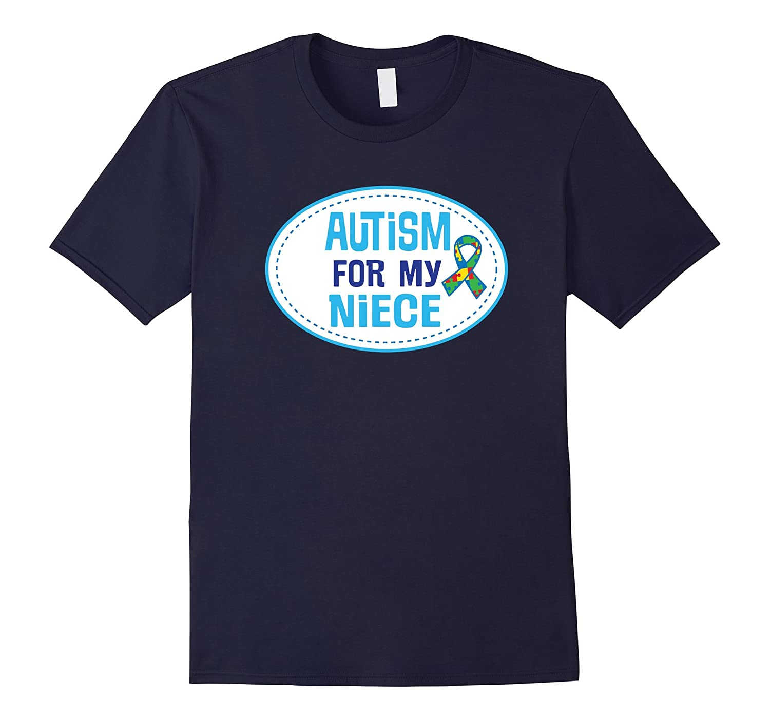 Autism Awareness For My Niece Puzzle Ribbon T-shirt-TD