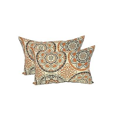 Set of 2 - Indoor/Outdoor Rectangle/Lumbar Decorative Throw/Toss Pillows : Garden & Outdoor