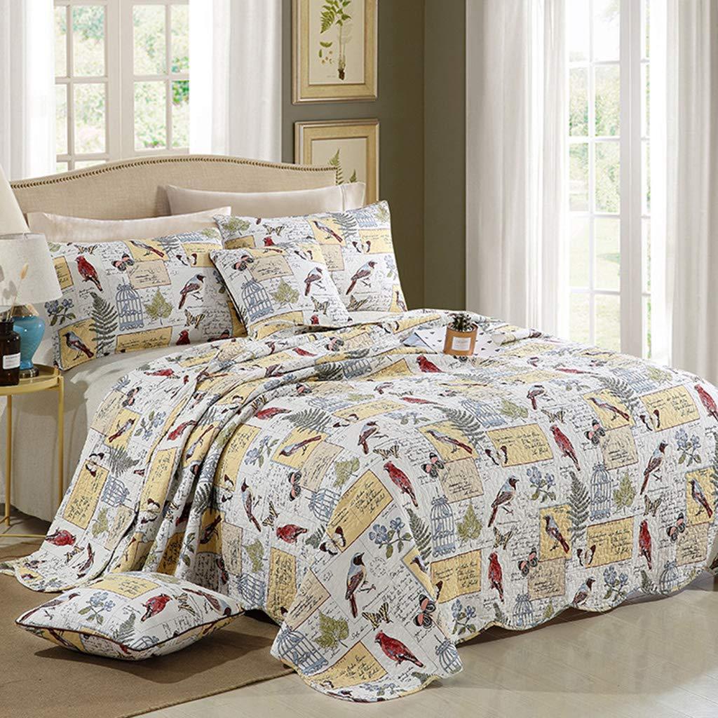 アメリカの寝具セット、夏のキルトに適したキルトのベッドカバー3ピースコットンパッド入りの快適さを洗浄 B07TCGJX45