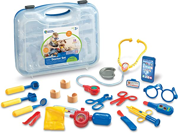 Learning Resources Pretend Play Doctor Kit For Kids Medical Toy 19 Pieces Blue Ages 3