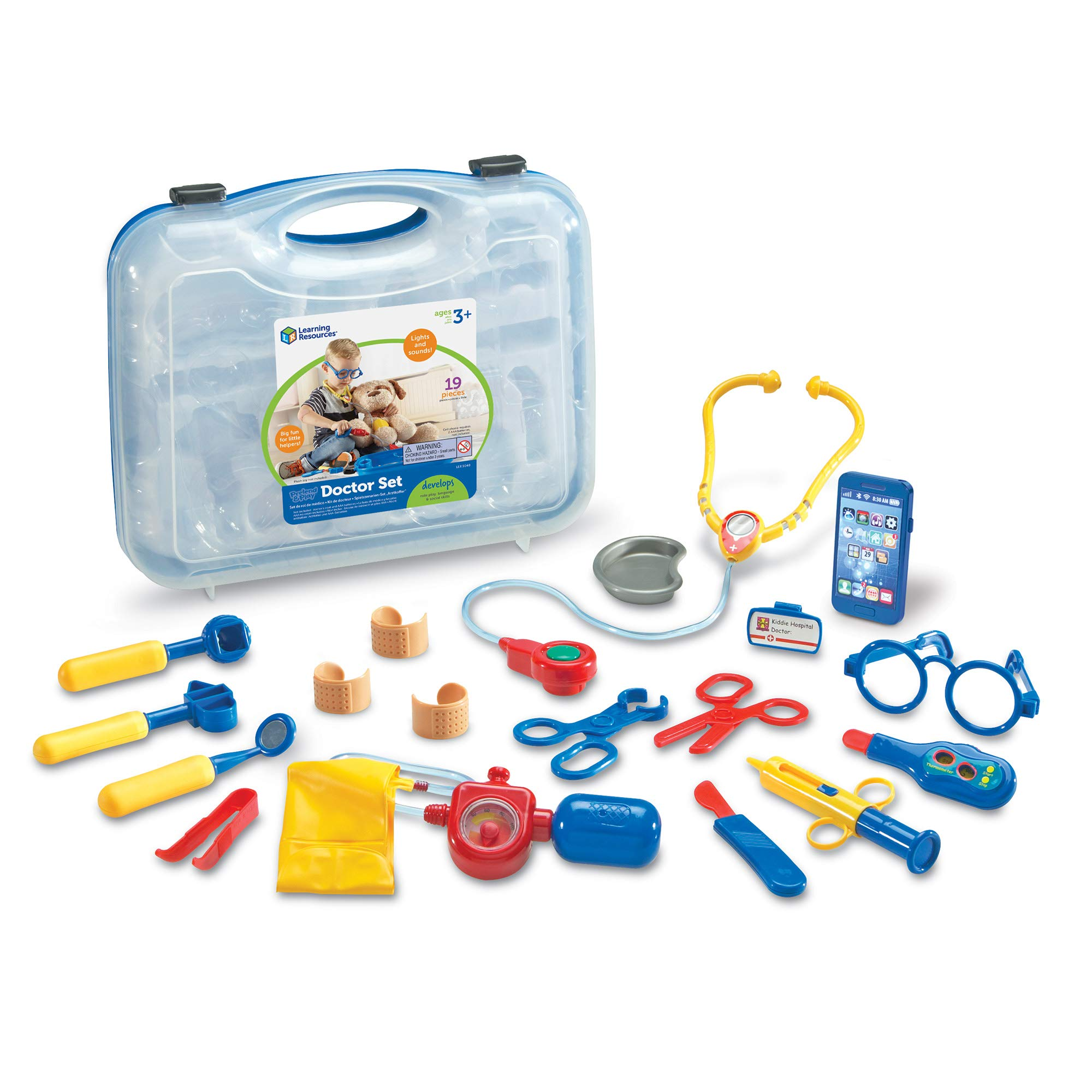 Learning Resources Pretend & Play Doctor Kit For Kids, Blue Doctor/Veterinarian Costume, 19 Piece Set, Ages 3+ by Learning Resources