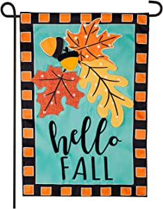 Evergreen Flag Indoor Outdoor Décor for Homes Gardens and Yards Hello Fall Leaves Garden Applique Flag