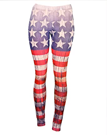 Patriotic Comfortable Red White & Blue Leggings: American Flag ...