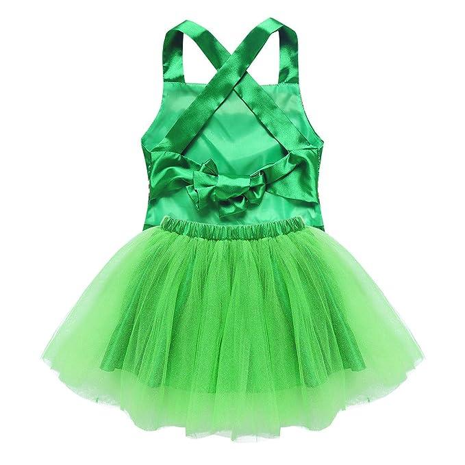 Freebily Disfraz Elfo Duende Navidad Niñas Vestido Tutú Lentejuelas de Danza Ballet Vestido Corto Verde Niña Disfraces Navideño Campanillas para ...