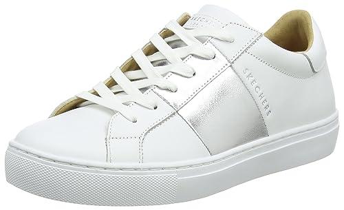 Skechers Side Street, Entrenadores para Mujer, Blanco (White/Silver), 38 EU