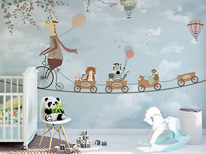 Mr Giraffe And Little Animals Wallpaper For Kids Bedroom Playroom Removable Fabric Wall Mural