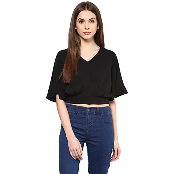 d85330e0f42 Harpa V Neck Crop Top: Amazon.in: Clothing & Accessories