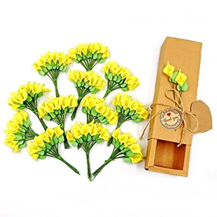 Jzk 144 Foam Yellow Calla Lily Small Artificial Flowers For Crafts