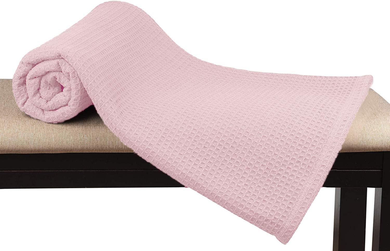 GLAMBURG 100% Soft Premium Cotton Thermal Blanket (King Blankets 90x102) Soft Cozy Warm Cotton Waffle Design Blanket– Bed Throw Blanket– All Season Cotton Blanket - Baby Pink