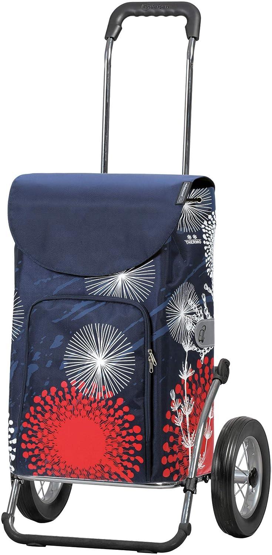 Andersen Einkaufstrolley Royal Stahlgestell klappbar mit Metallspeichenrad 25 cm und 37 Liter Einkaufstasche Basil Magnolia blau//rosa wasserdicht