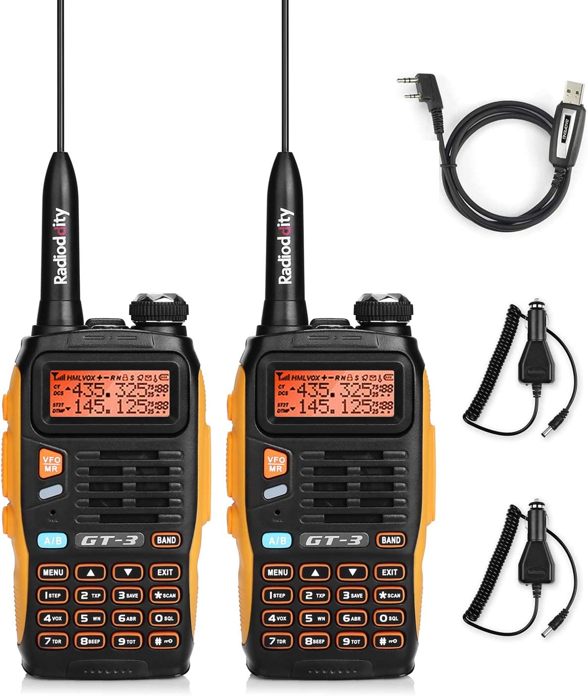 BAOFENG GT-3 Mark-II Dual Band Transceiver, FM Radio, 136-174 400-520 MHz, Chipsets Upgraded, ABS Frame and Programming Cable, 2 Pack