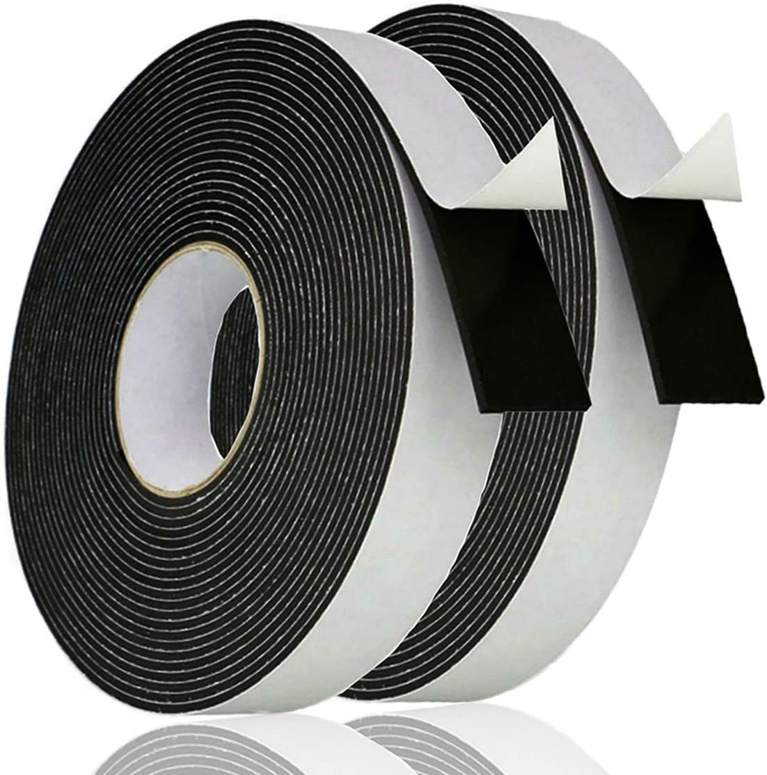 Adhesive Foam Tape Weather Strip for Doors Sticky Foam Strip Insulation Soundproofing Tape Single Sided Closed Cell Foam Tape 1/8 Inch Thick x 1 Inch Wide,2 Rolls